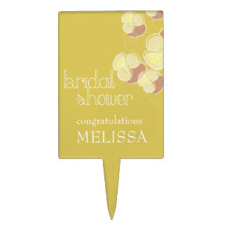 Falling Flowers Yellow Ochre Ombre Bridal Shower Cake Toppers