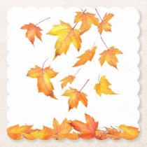 Falling Foliage Scalloped Square Paper Coaster