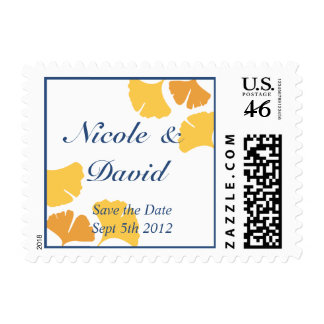 Falling ginkgo leaves blue wedding save the date postage stamp