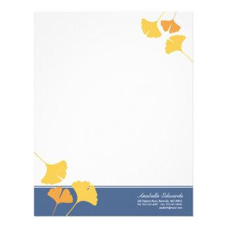 Falling ginkgo leaves golden yellow blue autumn letterhead