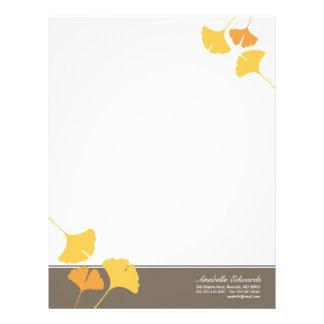Falling ginkgo leaves golden yellow gray autumn letterhead