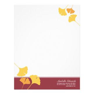 Falling ginkgo leaves golden yellow maroon autumn letterhead