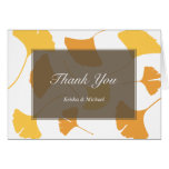 Falling ginkgo leaves gray couple thank you note stationery note card