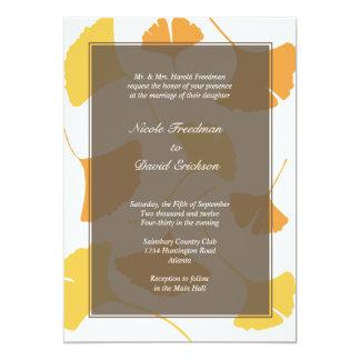 Falling ginkgo leaves gray golden autumn wedding 5x7 paper invitation card