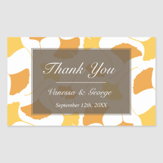 Falling ginkgo leaves gray wedding gift bag tag stickers