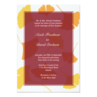 Falling ginkgo leaves maroon golden autumn wedding card