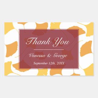 Falling ginkgo leaves maroon wedding gift bag tag rectangular sticker
