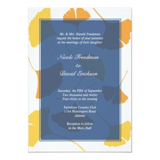 Falling ginkgo leaves navy golden autumn wedding 5x7 paper invitation card
