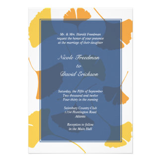 Falling ginkgo leaves navy golden autumn wedding announcements