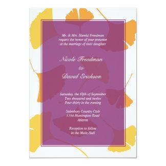 Falling ginkgo leaves purple golden autumn wedding card