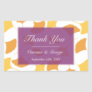Falling ginkgo leaves purple wedding gift bag tag rectangular sticker