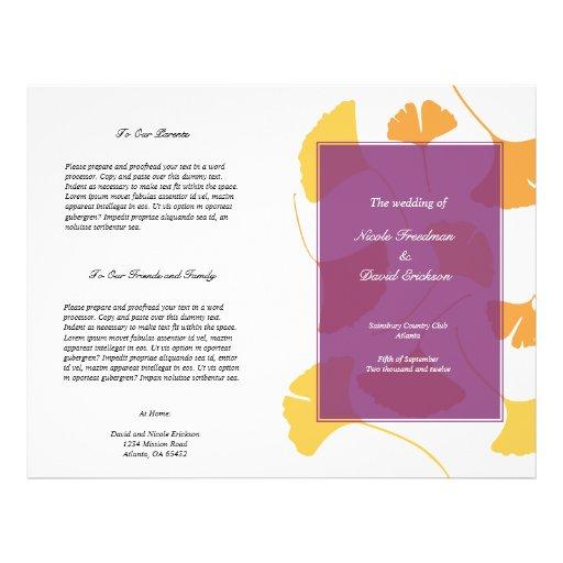 Falling ginkgo leaves purple wedding program custom flyer