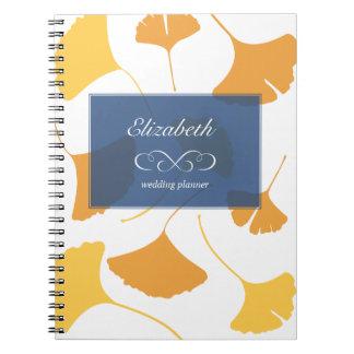 Falling ginkgo leaves yellow blue custom planner notebook