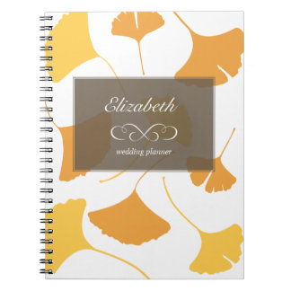 Falling ginkgo leaves yellow gray custom planner spiral notebook