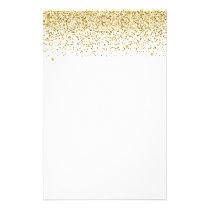 Falling Gold Glitter Confetti Stationery