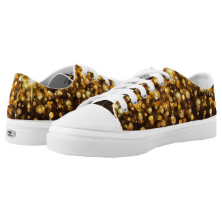 Falling Gold Glitter Low-Top Sneakers