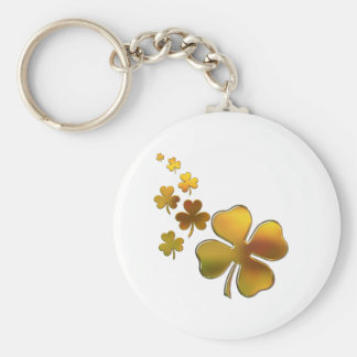 Falling Gold Shamrocks (Irish) Design Keychain