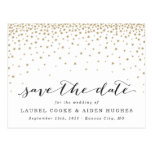 Falling Gold Stars Save the Date Postcard