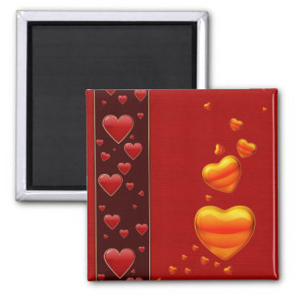 Falling Hearts 2 Inch Square Magnet