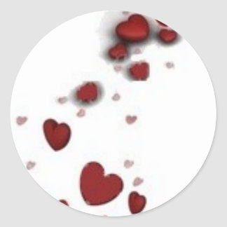 Falling hearts classic round sticker