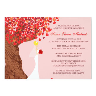 Falling Hearts Oak Tree Fall Bridal Shower 5x7 Paper Invitation Card