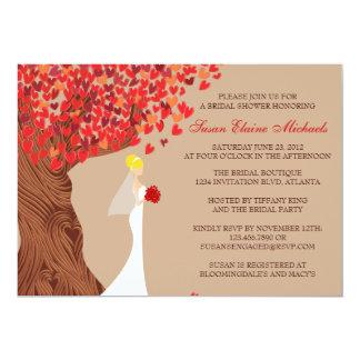 Falling Hearts Oak Tree Fall Bridal Shower Card