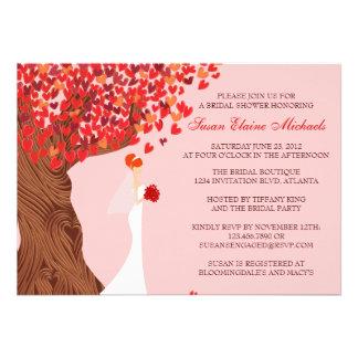 Falling Hearts Oak Tree Fall Bridal Shower Announcement