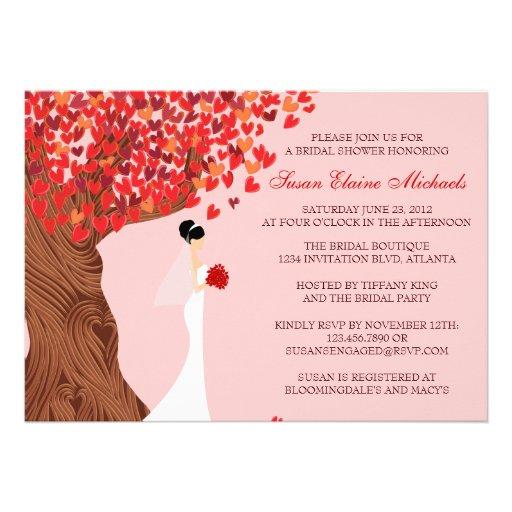 Falling Hearts Oak Tree Fall Bridal Shower Custom Invites