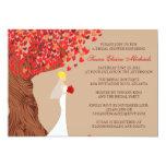 Falling Hearts Oak Tree Fall Bridal Shower Custom Invitations