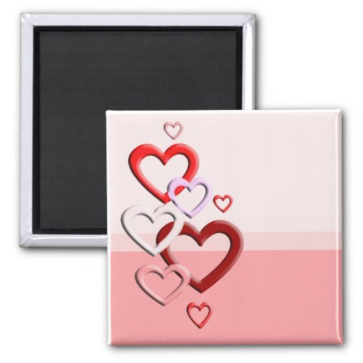 falling hearts pink background 2 inch square magnet