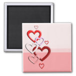 falling hearts pink background refrigerator magnet
