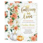 Falling In Love Baby Shower Invitation Orange Gold