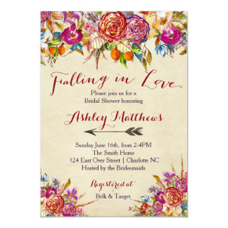 Falling In Love Floral Bridal Shower Invitation, Card