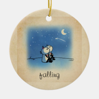 Falling in love Double-Sided ceramic round christmas ornament