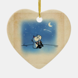 Falling in love Double-Sided heart ceramic christmas ornament