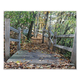 Falling into Place - Autumn Wooden Bridge Picture Photo Print