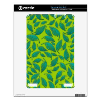 Falling Leafs Pattern Green Kindle 2 Skin