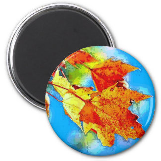 Falling Leaves 2 Inch Round Magnet