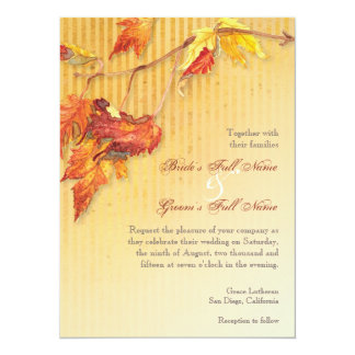 "Falling Leaves - Autumn Fall Wedding Invitations 5.5"" X 7.5"" Invitation Card"