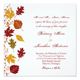 "Falling Leaves Autumn Fall Wedding Invitations 5.25"" Square Invitation Card"