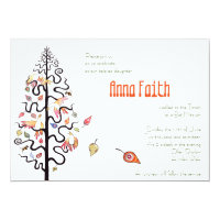 Falling Leaves Birds & Bees Bat Mitzvah Invitation