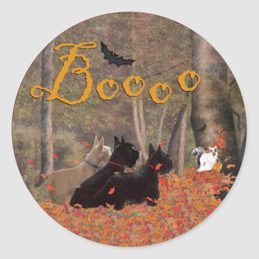 Falling Leaves Halloween Scotties Classic Round Sticker