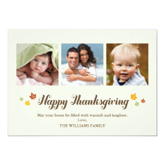 Falling Leaves Happy Thanksgiving Photo Card