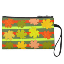 Falling leaves in autumn suede wristlet