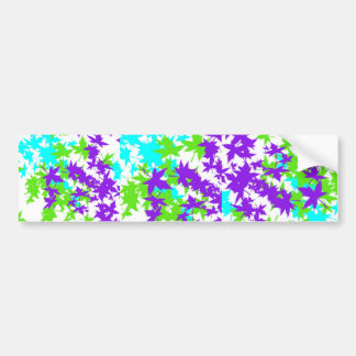Falling Leaves in Turquoise, Purple and Lime Bumper Sticker
