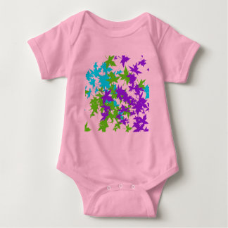 Falling Leaves in Turquoise, Purple and Lime Infant Creeper
