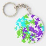 Falling Leaves in Turquoise, Purple and Lime Key Chain