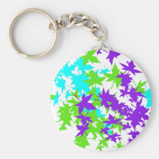Falling Leaves in Turquoise, Purple and Lime Keychain