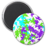 Falling Leaves in Turquoise, Purple and Lime Fridge Magnet