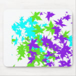 Falling Leaves in Turquoise, Purple and Lime Mousepad